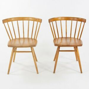 1947 Pair of George Nakashima for Knoll N19 Straight Chairs in Natural Birch
