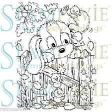 New Stampavie AUTUMN FUN Clear Stamp Dog Puppy Flowers Bird Friends Animals Leaf