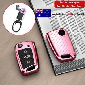 Pink Flip Remote Key Case Cover Shell Holder For VW Polo Golf For Skoda Octavia