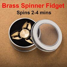 Copper Tri Fidget Hand Spinner Triangle Brass Finger Toy EDC Focus ADHD Autism