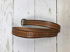 Brown Embossed Tooled USA Harness Leather Belt Brass Buckle 30-32 Inch Unisex