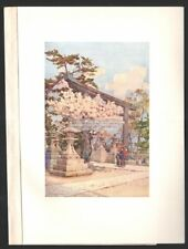 Oriental Japanese Gardens - White Cherry At Kitano Original 1910 Color Print