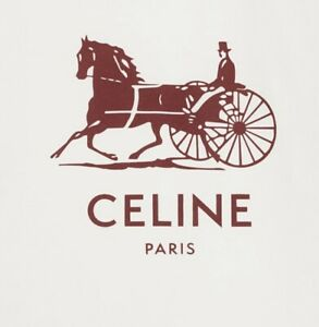 NEW CELINE SULKY T-SHIRT IN COTTON JERSEY WHITE/ BURGUNDY XS $620