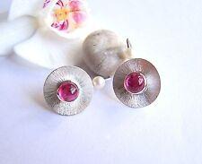 Ohrhaken  Ohrstecker Silber 925 rosa Turmalin 7 mm rund Cabochon 3,56 ct Perlen