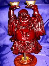 FSH110 Feng Shui Shoushan Standing Laughing Buddha with Gold Ingots + Incense
