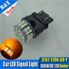 2Pcs 3157 3156 Xenon YELLOW AMBER 3000K 50 SMD LED Bulb - Signal Brake Back Up