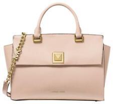 Michael Kors  Sylvia Medium Crossgrain Soft Pink Leather Satchel Purse Handbag