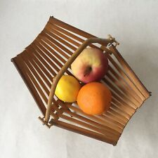 Vintage Retro Folding Wooden Fruit Basket With Bamboo Handle