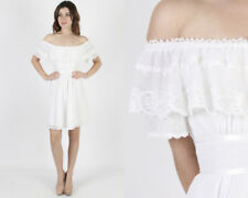 Vintage 70s Gunne Sax White Floral Print Boho Hippie Prairie Ruffle Mini Dress S
