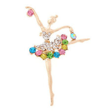 Gold plated Colorful Rhinestone Crystal angel Brooch For Wedding Pins Chris T4P5
