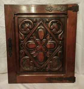 "28"" Antique French Gothic Architectural Panel Door Oak Wood Carved Salvage"