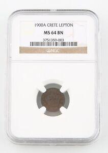 1900-A Greece Crete Lepton NGC MS 64 BN