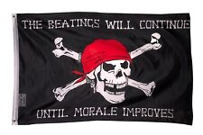 Beatings will Continue until Morale Improves PIRATE FLAG 3x5 FT Jolly Roger Ship