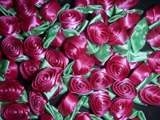 50 Satin Ribbon Roses -Hot Pink with Mint Green Leaf-Sewing Bow Craft- New