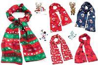 Women Ladies NEW Christmas Festive Scarf Snowman Print Winter Snow flake Gift