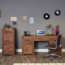 Shiro Solid Walnut Office Furniture Large Desk And Filing Cabinet Package Deal
