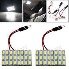 2x White 24SMD 5730 LED T10 BA9S Festoon Dome Car Interior Door Map Panel Lights