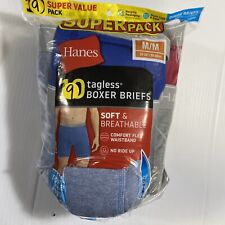 Hanes Mens 9-Pack Cotton Tagless Boxer Briefs Wicking Assorted Medium 32-34 A3