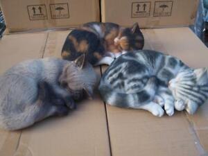 Katze Kater verschiedene Farben schlafend Deko Figur Siamkatze Garten HOTANT