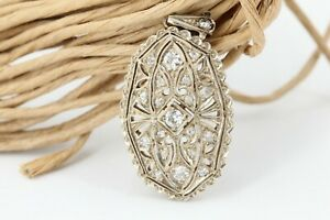 Art Deco Diamant Gold Anhänger 585 Weißgold 14K 20 Altschliff ca. 0,31 ct 34,5mm