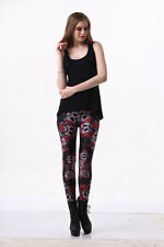 Skull,Red Roses Digital Printing Leggings Tights Yoga Workout Pants - Lift the h