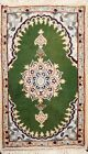 Green Medallion Floral Oriental Area Rug Traditional Hand-knotted Wool 1x2 ft