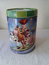 Walt Disney's Toy Story Large Round Illustrated Tin Coin Bank Style Game On.