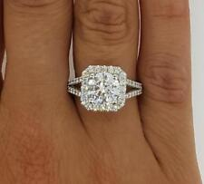 4 Carat Halo Round Cut Diamond Engagement Ring 18k White Gold Finish For Womens