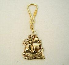 Brass Sailing Ship Or Sailboat Key Chain Nautical Maritime Key Ring New