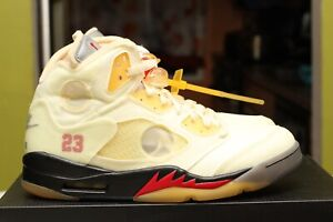 AIR JORDAN 5 RETRO SP FIRE RED OFF-WHITE X SIZE 9.0 DS 100% AUTHENTIC DH8565-100