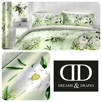 Dreams & Drapes FLORENCE Green Easy Care Pencil Pleat Curtains & Bedding