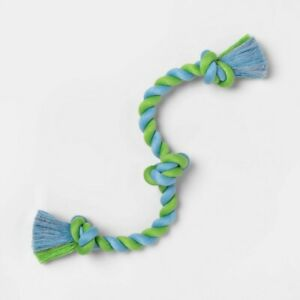 Color Twisted Rope Dog Toy - Blue/Green - Boots & Barkley