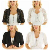 Women Half Sleeves Ladies Floral Lace Sheer Bolero Crop Cardigan Shrug Shawl Top