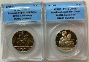 (2) 2019-D&S American Legion 100th Anniversary Half Dollars ANACS PR70 & MS70 #2