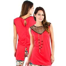 Stunning Red Top With Net Shoulders Plus Size 18/2XL (9486)IB