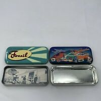 Lot of 2 Vintage FOSSIL WATCH METAL TIN Tins