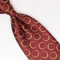 Tallia Mens Silk Necktie Burgundy Gold Ring Circle Dot Motion Effect Weave Tie