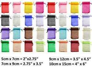 Premium Organza Bags 5x7, 7x9, 9x12, 10x15cm in quantities of 25, 50, or 100