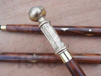 Victorian Handle Brass Wood Walking Stick Cane Antique Vintage Designer Gift