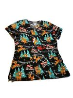 Rudolph The Red Nosed Reindeer Women Scrubs Scrub Top Holiday Christmas Small