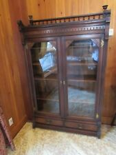 Antique Victorian Walnut 1880 Eastlake Style Bookcase Usa