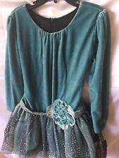 New Isobella and Chloe Girls Teal Velour Long Sleeve  Dress Wth Dot Netting Sz 5