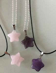 UK Rose Quartz/Amethyst Gemstone Star Pendant Black Cord/Silver Necklace Chain