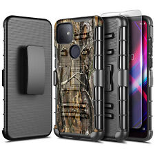 For T-Mobile Revvl 4/Revvl 4 Plus/Revvl 5G Case Holster Cover + Tempered Glass