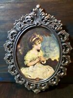 Action Oval Ornate Metal Brass Picture Frame ITALY Vintage Sitting Girl Image