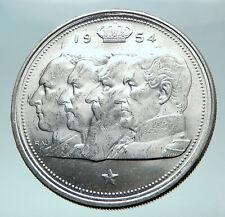 1954 BELGIUM Kings Leopold I II III & Albert I Silver 100 Francs Coin i82567