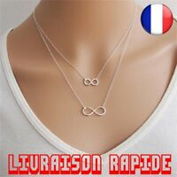 Collier Double Infinity Femme Chaine Pendentifs Mode Cadeau Mujer Bisuteria