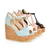 UK SIZE Womens Wedge High Heel Platform Open Toe Ankle Strap Sandals Shoes Pumps