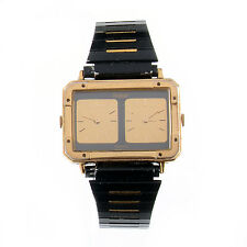 Vintage Super Rare Pulsar Dual Time Y590-5289 Gold Tone Black Watch New Battery