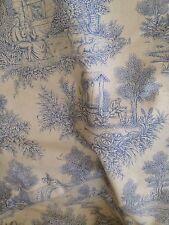 """Vintage Fabric Designer Blue Antique Toile Du Jouy Quality Cotton Curtain 54""""W"""